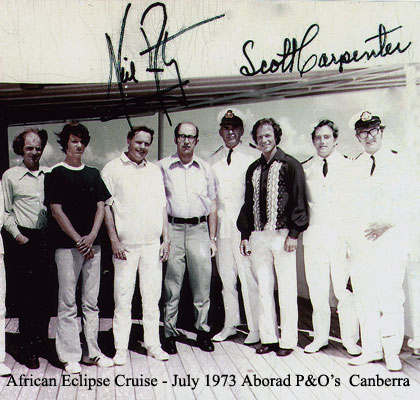 [Dr. Phil Sigler, Mark Armstrong, Neil Armstrong, Ted Pedas, Captain Eric Snowden,Scott Carpenter, P&O Canberra staff]